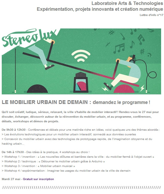 Newsletter laboratoire arts et technologies
